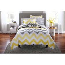 yellow and gray bedroom: mainstays yellow grey chevron bed in a bag bedding comforter set walmartcom