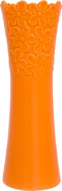 <b>Ваза</b> 400 мл 7,5х7,5х22 см <b>Elan</b> Gallery Оранжевая с <b>цветами</b> ...