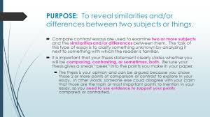 compare and contrast essay writing purpose to reveal compare and contrast essay writing 2 purpose