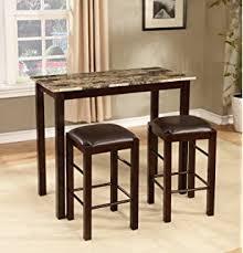 roundhill furniture brando 3 piece counter height breakfast set espresso finish breakfast furniture