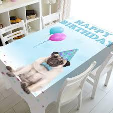 <b>Dog</b> Tablecloth Kids <b>Pug</b> Decorations Cover Girl Colorful Cloths ...