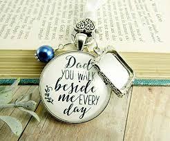 Bridal Bouquet Charm Dad <b>You Walk Beside</b> Me <b>White</b> Blue