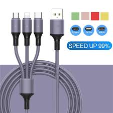 <b>3</b> In <b>1 Liquid Silicone</b> USB Cable Fast Charger Cable for iPhone ...