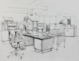 paul sharp mid 20th century graphite drawing office work room art drawing office
