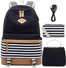 Girls Canvas School Backpack Set 3 in 1 with lunch ... - Amazon.com