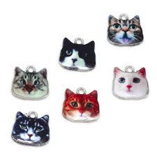 17x17mm 2 <b>6pcs</b> Animals Cat Zinc Alloy <b>Enamel</b> Bracelet Necklace ...