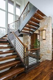 "Floating <b>Open</b> Tread 3""x12"" <b>Walnut</b> Staircase with Interior Stone ..."