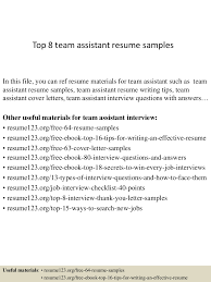 top8teamassistantresumesamples 150409002509 conversion gate01 thumbnail 4 jpg cb 1428557156