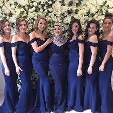 <b>Sexy</b> Royal Blue <b>Off Shoulder Floor</b>-Length Satin Bridesmaid ...