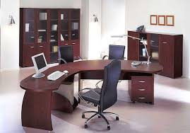 contemporary office design with curved brown wood office desk and black leather office chair on sheels black leather office design