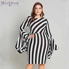 <b>Misshow 6XL Plus Size</b> Flare Sleeve Women Bodycon Dress ...