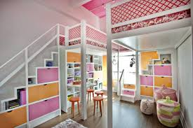 amazing pink and orange loft bedroom for two girls bedroomamazing bedroom awesome