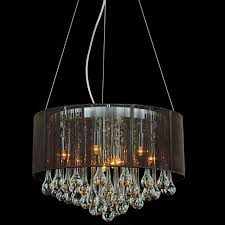 picture of 18 gocce modern string drum shade crystal round chandelier polished chrome with black black crystal chandelier lighting