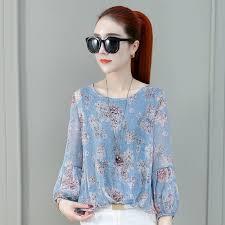 Fashion <b>Floral</b> Print Women Chiffon Shirt Tops <b>Elegant</b> Ladies ...