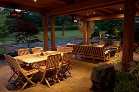 patio dining:  alderwood landscaping country outdoor living dining tablejpgrendhgtvcom