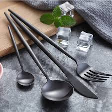 Hot Sale 24pcs Black <b>Christmas</b> Cutlery Set Wedding Dinnerware ...