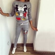 Autumn Winter <b>Women</b> Casual Fleece Tracksuits Lovely <b>Mickey</b> ...