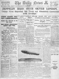 facts about london s first ww zeppelin raid in history extra daily news front page 1 1915 reporting zeppelin bombing raids on london john frost newspapers alamy