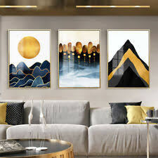 <b>Abstract</b> Canvas Painting Geometric Golden Wall Art <b>Poster</b> ...