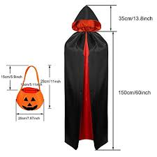 <b>Halloween</b> Vampire Cloak Adult/Child <b>Double Layer</b> Black and Red ...