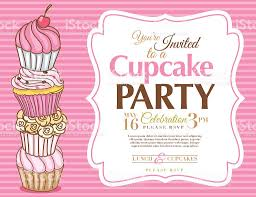 cupcake party invitation template in pink horizontal stock vector cupcake party invitation template in pink horizontal royalty stock vector art