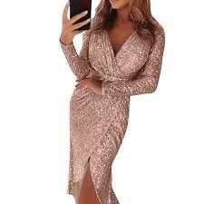 MoneRiff <b>2019</b> Sexy <b>Vestidos Mujer</b> Deep V Neck Shiny Dress ...