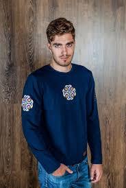 T-shirt blue <b>large size long sleeve shirt</b> with a large blue cross ...