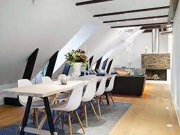 narrow dining table room rustic