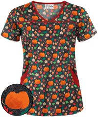 UA <b>Pumpkin</b> And Spice <b>Black</b> Princess Seam <b>Print</b> Scrub Top ...