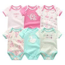 2019 <b>6PCS</b>/<b>lot Newborn</b> Cotton 0 12M <b>Baby</b> Girl Clothes Bodysuit ...