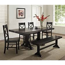 black kitchen dining sets: black kitchen table with bench walker edison black  piece solid wood dining set with bench