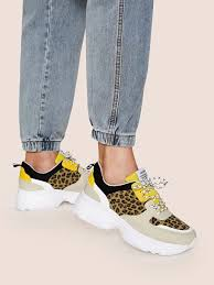 Леопардовые кроссовки на <b>шнурках</b> и платформе   SHEIN