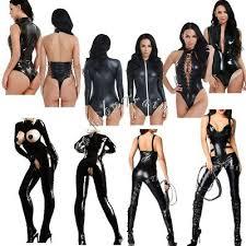 <b>Sexy Women</b> Zipper PVC Leather <b>Catsuit Bodysuit Jumpsuit</b> ...