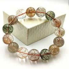 <b>100</b>% <b>Natural Rutilated</b> Quartz <b>Gold</b> Red Green Copper Beads ...