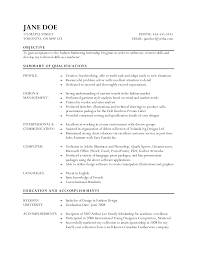 resume for fashion internship   template   templateresume for fashion internship