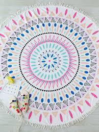 Geometric Print Pom-pom Trim Round <b>Beach</b> Blanket | <b>Пляжное</b> ...