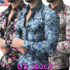 Slim <b>Floral</b> Casual Button-Down <b>Shirts</b> for Men for sale | eBay
