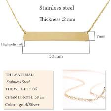 New <b>Personalized Blank Bar Pendant</b> Necklace 3 Colors Stainless ...