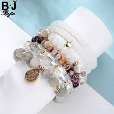 <b>Bojiu Charm Bracelet White</b> Tibetan River Stone Bead Long Crystal ...