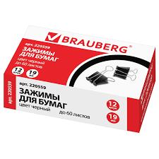 Купить <b>Зажимы для бумаг BRAUBERG</b>, КОМПЛЕКТ 12 шт., 19 мм ...