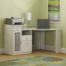 stand kids office desk white wooden bookshelves integrated with floating table