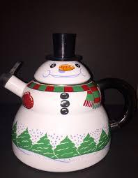 household dining table set christmas snowman knife: snowman enamel whistling tea kettle roshco tea pot christmas holiday decoration