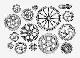 <b>Hand</b>-<b>drawn vintage</b> gears, cogwheel. Sketch mechanism, industry ...