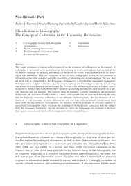Classification in Lexicography: The <b>Concept</b> of Collocation in the ...