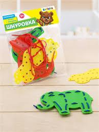 """<b>Шнуровка</b> детская """"Животные и фрукты"""", 3 формы, 2 шнурка ..."""