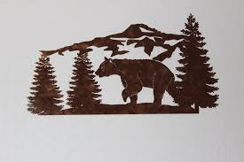 tree scene metal wall art: bear and mountain pine tree scene large metal wall art country home decor