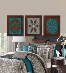trendy bedroom decorating ideas home design: wall art teal brown dahlia flower bloom bedroom bathroom decor modern abstract floral flourish artwork set