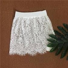 Women Lace Hollow Out Skirt Underskirt <b>Sexy</b> Club High Waist ...