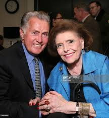opening night of cast member martin sheen l poses actress patricia neal who starred