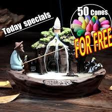 With 50 pcs <b>Backflow Incense</b> Cones <b>Retro</b> Handmade Porcelain ...